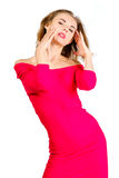 Young sexy slim pretty woman dressing red dress posing isolated Royalty Free Stock Photos