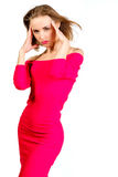 Young sexy slim pretty woman dressing red dress posing isolated Royalty Free Stock Images