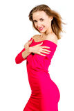 Young sexy slim pretty woman dressing red dress posing isolated Stock Images