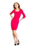 Young sexy slim pretty woman dressing red dress posing  Royalty Free Stock Photography