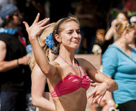Young and sexy student in a swimwear dance zumba class Stock Photo