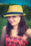 Young sexy summer girl wearing a hat. Pretty young sexy summer girl wearing a hat Royalty Free Stock Photography