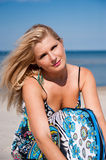 Young summer woman on the beach Royalty Free Stock Image