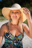 Young sexy summer woman in a hat Stock Photos