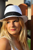 Young summer woman  in a hat Stock Images