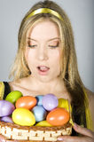 Young sexy surprized woman with easter eggs Stock Image