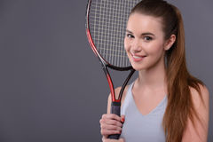 Young and sexy tennis player Stock Photography