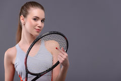 Young and sexy tennis player Stock Photos