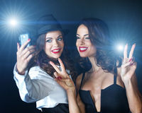 Young sexy VIP celebrities taking selfie Royalty Free Stock Photos