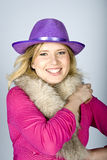 Young sexy winter woman with fur and hat Royalty Free Stock Photography