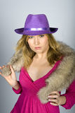 Young sexy winter woman with fur and hat Royalty Free Stock Photos