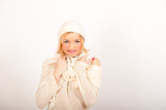 Young sexy winter woman in white knit clothes Stock Images