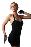 Young sexy woman. With blonde hair in a short black mini dress Stock Photo