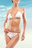 Young sexy woman on a beach Royalty Free Stock Images