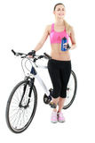 Young sexy woman on a bicykle Stock Image