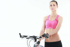 Young sexy woman on a bicykle Stock Photo