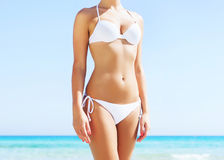 Young and sexy woman in a bikini on the beach. Beautiful woman in a bikini. Young and sporty girl posing on a beach at summer Stock Photography