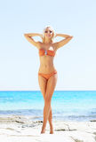 Young and sexy woman in a bikini on the beach Royalty Free Stock Photography
