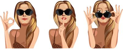 Young woman in black glasses with long blonde hair showing diferent gesture hands. Vector illustration of beauty face girls i Vector Illustration