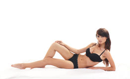 Young sexy woman in black lingerie Royalty Free Stock Photos