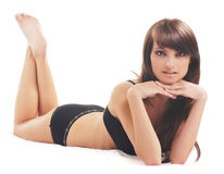 Young sexy woman in black lingerie Royalty Free Stock Images