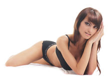 Young sexy woman in black lingerie Stock Photos
