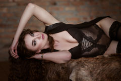Young sexy woman in black lingerie Stock Photography