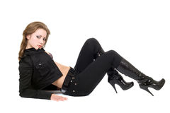 The young sexy woman in black suit. Stock Images