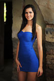 Young sexy woman in blue dress Royalty Free Stock Photos