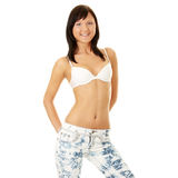 Young sexy woman in bra and jeans Stock Images