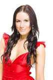 Young Sexy Woman With Brunette Hair In Red Dress Stock Photography