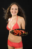 Young sexy woman with cayenne. Royalty Free Stock Image
