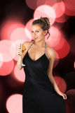 Young sexy woman with champagne Stock Photos