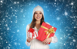 Young and woman in Christmas style Royalty Free Stock Photos