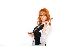 Young sexy woman with cigar and glass of whiskey Royalty Free Stock Images
