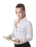 Young sexy woman count a bundle of money Stock Photography