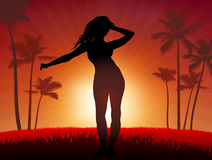 Young Sexy woman dancing on sunset background Royalty Free Stock Images