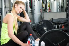 Sport workout in fitness gym stock image