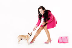 Young woman dressed in pink pulling dog Stock Images