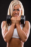 Young sexy woman dumbbells exercises Stock Photos