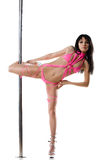 Young sexy woman exercise pole dance Stock Photo