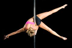 Young sexy woman exercise pole dance Stock Photography