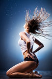 Young sexy woman with fluttering hair Royalty Free Stock Photography