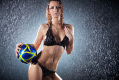 Young sexy woman football player Royalty Free Stock Images