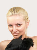 Young sexy woman in furs black gloveson. Royalty Free Stock Photo