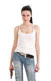 Young, sexy woman with gun. Young, sexy woman with gun isolated on white background Royalty Free Stock Photography