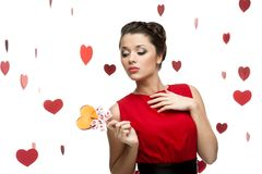 Young sexy woman holding lollipop Royalty Free Stock Photography