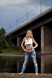 Young woman in jeans royalty free stock photo