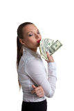 Young sexy woman kiss a bundle of dollars Royalty Free Stock Image