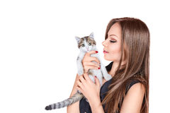 Young woman with kitten Royalty Free Stock Images